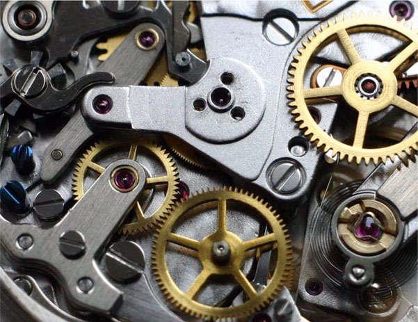 механические часы с деталями